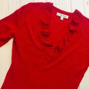 BETH BOWLEY Red Cashmere Blend 3|4 Sleeve Sweater